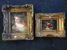 Oil on board, still life with apples on shelf, in ornate scrolled gilt frame; and a gilt framed