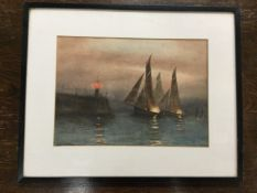 Harold Auerbach, watercolour, moonlit sailing boats off harbour pier, signed, mounted & framed. (