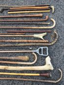 A miscellaneous collection of sticks - hazel, leather swagger type, horn handled, riding crops, a