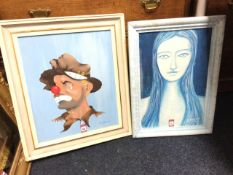 Corin Richardson, oil on board, study of a clown, signed & framed; and J Dyson, oil on board, blue