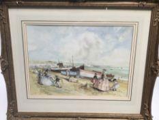 John Strickland Goodall (1908-1996) watercolour, figures on the beach