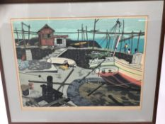 Fumio Kitaoka (1918-2007) wood block print - Harbour scene, signed and numbered