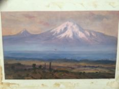 Continental School, circa 1900, oil on paper mounted on board, Mountainous landscape, signed
