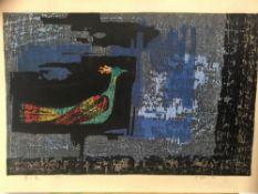 Tamami Shima (1937-1999) Pair of Japanese coloured woodcut prints -ex Sir Richard Attenborough,