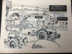 J. Holmes (mid 20th century) group of pen and ink illustrations, advertising work and cartoons, all