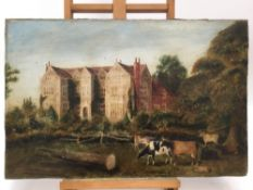 19th Naive School oil on board - cattle grazing in the grounds of a country house, unframed
