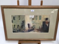 Ernest Savage (b.1906) watercolour and goache - After the catch, Camogli, signed, in glazed frame,