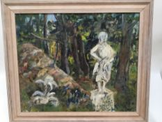 Olive Cook, late 20th century oil on board - A the Foot of the Mount, signed and dated 1996 verso,