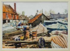 Harry Arthur Riley (1895-1966) mixed media on paper Woodbridge Boatyard