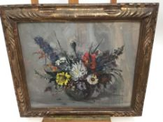 Emily Murray Paterson (1855-1934) oil on board - still life of flowers, in carved gilt frame