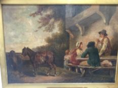 After George Morland (1762-1804) oil on canvas - Rural scene with figures