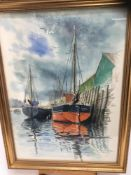 Stuart Maxwell Armfield (1916-2000) watercolour - Harbour scene