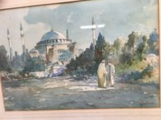 T Baldasar late 19th/early 20th century - Watercolour figures before a mosque
