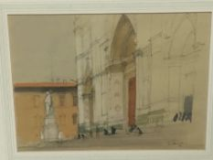 Patrick Hamilton (born 1923) -pair of pencil and watercolours- Cathedral steps and bridge