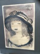 Roger Etienne (b1922) mixed media portrait of a girl, signed and dated