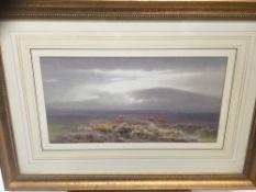 Charles Edward Brittan (1870-1949) watercolour - Moorland landscape, 24cm x 39cm