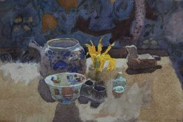 Christa Gaa (1939-1992) watercolour - still life with Nepalese bird, initialled, in glazed frame,