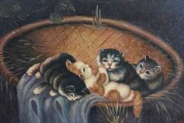 Ronner, early 20th century naive oil of kittens