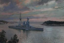 Johann Seits (1887-1967) watercolour - a destroyer off the coast of Dubrovnik, signed, inscribed and