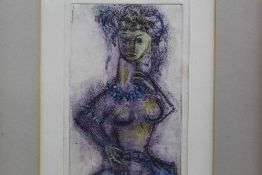Yahuda Bacon (b.1929) signed hand coloured etching - Dancing Girl, 1961 provenance verso, in glazed