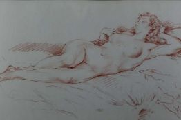 20th century, conte crayon drawing on paper - a reclining female nude, indistinctly signed, in glaze