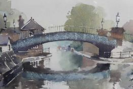 Maurice Hill, contemporary, watercolour - The Horse Bridge, Little Venice, signed, in glazed gilt fr