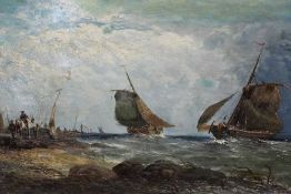 19th century oil on canvas 'Dutch fishing on the coast of Fife, signed G Milne and inscribed as titl