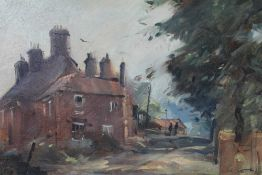 Peter Gilman 1928-1984) oil on board - View of Walberswick, signed, framed, 18cm x 26cm