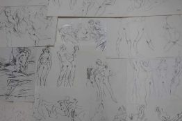 Folder of nude females by Peter Collins (1923-2001) approx 50 together with original exhibition invi