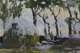 Mid 20th century oil on canvas laid on board - winter haystack, in carved frame, 24cm x 32cm