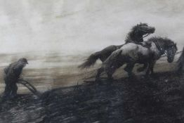 Herbert Thomas Dicksee (1862-1942) signed black and white etching - The Last Furrow, signed in penci