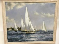 English School, 20th century, oil on canvas - Yacht race, together with another