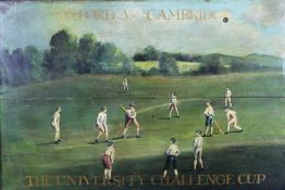 Decorative oil on panel depicting the Oxford V. Cambridge University Challenge Cup Cricket Match, fr