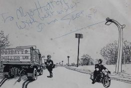 Signed Giles cartoon - To Mrs Hutton, With best wishes, From Giles '58