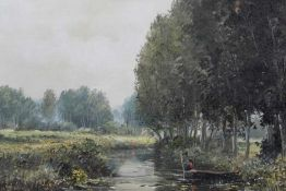 Ted Dyer oil canvas of a river view