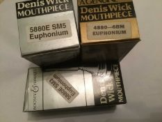 Three Denis Wick euphonium mouthpieces- SM5, SM3, 6BM, all boxed and new