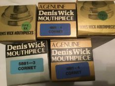 Three Dennis Wick cornet mouthpieces and two Denis Wick trumpet mouthpieces, all boxed and new