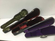 Good quality violin case by Paxman Ltd. with green velvet lining, together with two further by Paxma