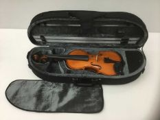 Modern Romanian three-quarter size violin in fitted case