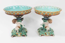 Good pair of Wedgwood majolica comports