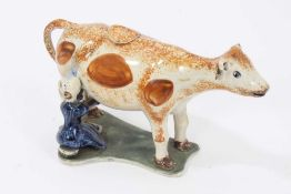 Prattware cow creamer and cover, c.1800