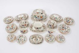 Early Victorian miniature 52 piece dinner set, probably Minton, transfer printed with an Oriental pa