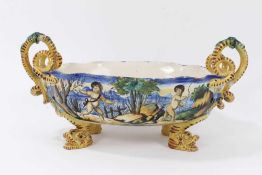 Good Cantagalli maiolica centrepiece, painted with classical scenes, with serpent-form handles, cock