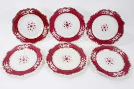 Set of six early 19th Century English porcelain plates, possibly by Flight, Barr and Barr, with gadr