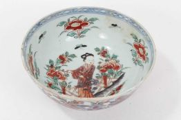 18th century Chinese blue and white porcelain bowl with European clobbered decoration