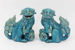 Pair of blue glazed Chinese or Japanese Dogs of Foo