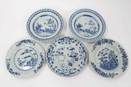 Five 18th century Chinese export plates