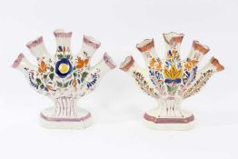 Near pair of pearlware tulip vases