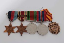 Second World War medal group comprising 1939 - 1945 Star, Africa Star with North Africa 1942 - 43 cl