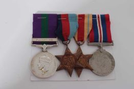 Second World War and later medal group comprising 1939 - 1945 Star, Africa Star and War medal togeth